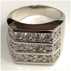 14KT White Gold Triple Row Diamond L Ring